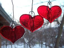 Handmade Fused Glass Art-red heart, unique gift for any occasion [set of three]
