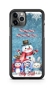 Happy Holidays Winter Snowman Family Phone Case For iPhone i11 Samsung LG Google
