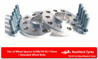 Wheel Spacers 15mm (2) 5x110 65.1 +Bolts For Vauxhall Astra VXR [H] 05-09