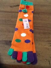 NWT Legale Orange w/colorful polka dots Toe Socks w/Frog Pom Pom Size 9 - 11