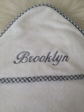 "Pottery Barn Kids Gingham Nursery Hooded Towel Embroidered ""Brooklyn"""