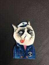 Quirky Kitsch Funky Sailor NaUtical Navy Grumpy Cat Smoking Pipe Pin  Brooch