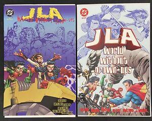 JLA WORLD WITHOUT GROWN-UPS 1-2 DC COMIC SET COMPLETE DEZAGO RAMOS 1998 NM