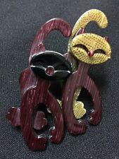 Vintage Lea Stein Paris Twin Felix the Cat Pin Brooch FS