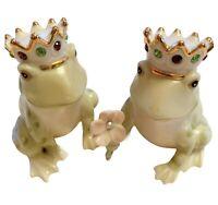 Lenox Jeweled Frog Royal Prince Salt & Pepper Shaker Set Green Gold Crowns