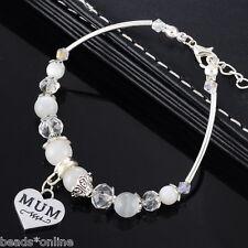 1PC Mother's Day Gift Bracelet String Beads Love Heart MUM Pendant