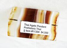 Prehistoric Thai Lop Buri Drilled Rectangular Agate Plaque Pendant (Mil)