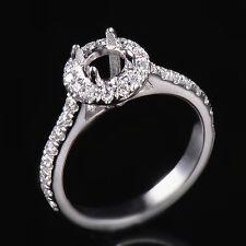 Natural Diamond Engagement Semi Mount Halo Ring Setting Round 6MM 14K White Gold