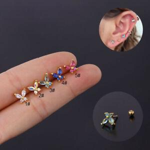 Colored Zircon Butterfly shaped Helix Women Ear Cartilage Stud Piercing Earrings
