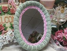 SAGE GREEN & PINK OVAL WICKER WALL MIRROR or VANITY TRAY~Shabby~Cottage~Chic