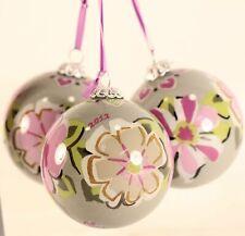 Dated 2012 Vera Bradley Glass Ornaments in Decorative Fabric Box. Beautiful!!!