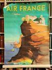 Original circa 1950 French Air France Seaside Travel Poster