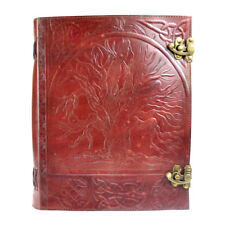 Celtic Tree of Life 13x10 Leather Double Latch Notebook Journal Handmade Paper