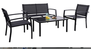 4 Piece Outdoor Patio Furniture Set Love Seat 2 Chairs Table Bistro Set Black
