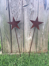 """Pair of 28"""" Rustic Wrought Iron Metal Star Stakes Garden Decor"""