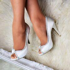 Para mujeres Zapatos Tacón Alto Raso Peep Toe Diamante De Imitación Novia Bombas de fiesta noche talla