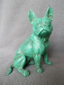 sculpture art deco 1920 chien bouledogue francais en metal regule french bulldog