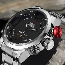OHSEN Analog Digital Zeit LED Licht Silber Edelstahl Quarz Armband Herren Uhr