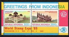 Indonesia - 1989 Stamp Expo Washington / Architecture - Mi. Bl. 70 MNH
