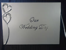 Our Wedding Day Guest Book With Silver Diamante Hearts & Stylish Silver Pen