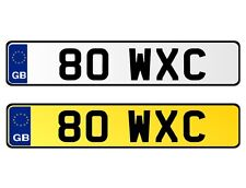 * 80 WXC * DATELESS 2X3 CHERISHED PERSONAL PRIVATE REGISTRATION NUMBER PLATE WC