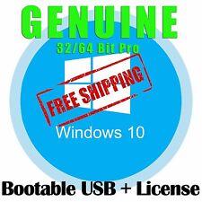 Microsoft Windows 10 Pro License Key with Bootable USB Stick WIN 10 Ten 32 64