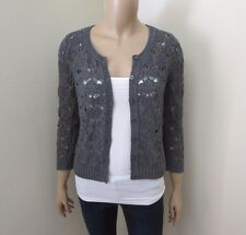 Hollister Womens Knit Cardigan Size Small Sweater Top Shirt Dark Gray 3/4 Sleeve