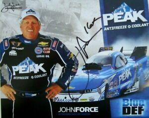 JOHN FORCE SIGNED 2015 16X PEAK BLUE DEF DRAG RACING FUNNY CAR CHAMPION HANDOUT