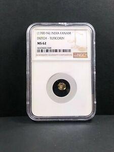 1700-94 India Gold Fanam. Dutch-Tuticorin. NGC MS 62, 048