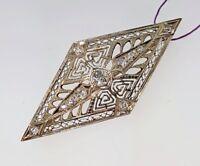 Old Mine Diamond Filigree Pin Brooch Antique Edwardian 14K Gold .50 Carats tw