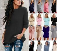 Womens Outwear Plus size Jumper Long Sleeve Knitted Pullover Loose Long Sweater