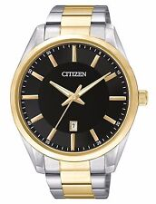Citizen BI1034-52E Men's 2 Tone Stainless Steel Black Dial Japanese Quartz Watch