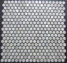PERLMUTT weiß Mosaik,Hexagon,EINZELSTÜCK,15 mm auf Matte 300x300 mm, ECHT Perlm.