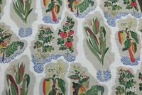 """ZOFFANY CURTAIN FABRIC """"Harvest"""" 3.1 METRES RED/GREEN EMBROIDERED RRP £184 PER M"""