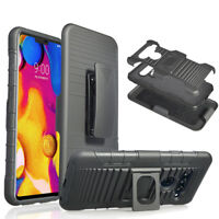 Shockproof Hybrid Stand Holster Magnetic Hard Armor Case Cover For LG V40 ThinQ
