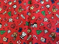 CHRISTMAS MINIATURES ON RED COTTON BY ERLANGER- 1/4 YARD