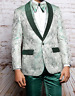 Men Insomnia Manzini Blazer Stage Performer Singer Prom MZS300 Green Floral New