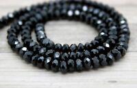 Black Spinel Faceted Rondelle Natural Gemstone Beads Full Strand