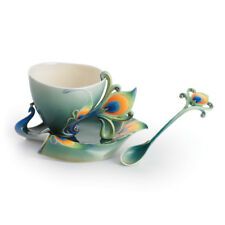 FZ01205 Franz Porcelain Luminescence peacock cup saucer set with spoon