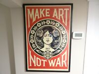 SIGNED - OBEY Shepard Fairey MAKE ART NOT WAR LOVE Print Poster Giant 24X36