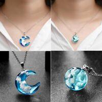 Fashion Windy Blue Sky Resin Necklace Pendant Chain Elegant Women Jewelry Gift