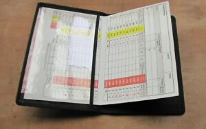 Real Leather Black golf score holder Option to Personalise with Name & Club logo