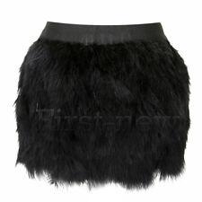 Womens Ostrich Fluffy Sexy Feather Mini Skirt Clubwear Elastic Waist Short Skirt