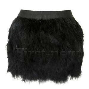 Womens Ostrich Fluffy Sexy Feather Mini Skirt Clubwear Elastic Waist Short Skirt