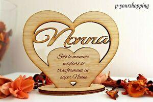 Cuore con Base con dedica nonna personalizzata in legno idea regalo cake topper