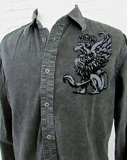 Men's Affliction Black Acid Washed Denim Shirt Velvet Guardian Lion Angel