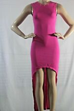 G BY Guess high low hem bluson long dress SZ XS gold Stud color pink solid