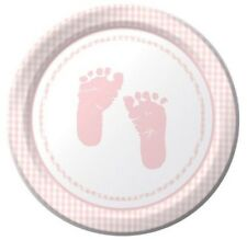 Plaid Girl Pink Baby Shower Party 7 inch 8 ct Dessert Plates Footprints