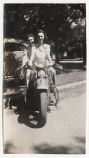 YOUNG LADIES POSING ON MOTOR CYCLE OLD/VINTAGE PHOTO-SNAPSHOT-A112