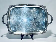 Fabulous Antique 1908 FB Rogers Silver Plated Tray With Handles And Legs